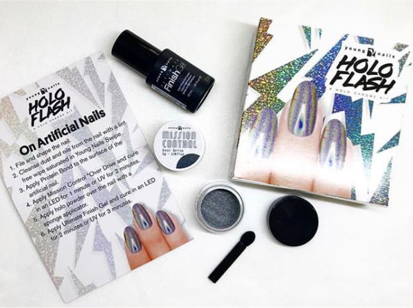 young nails holo flash kit voor prachtige holo chrome glitter nagels