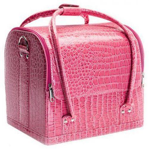 Beautycase croco pink